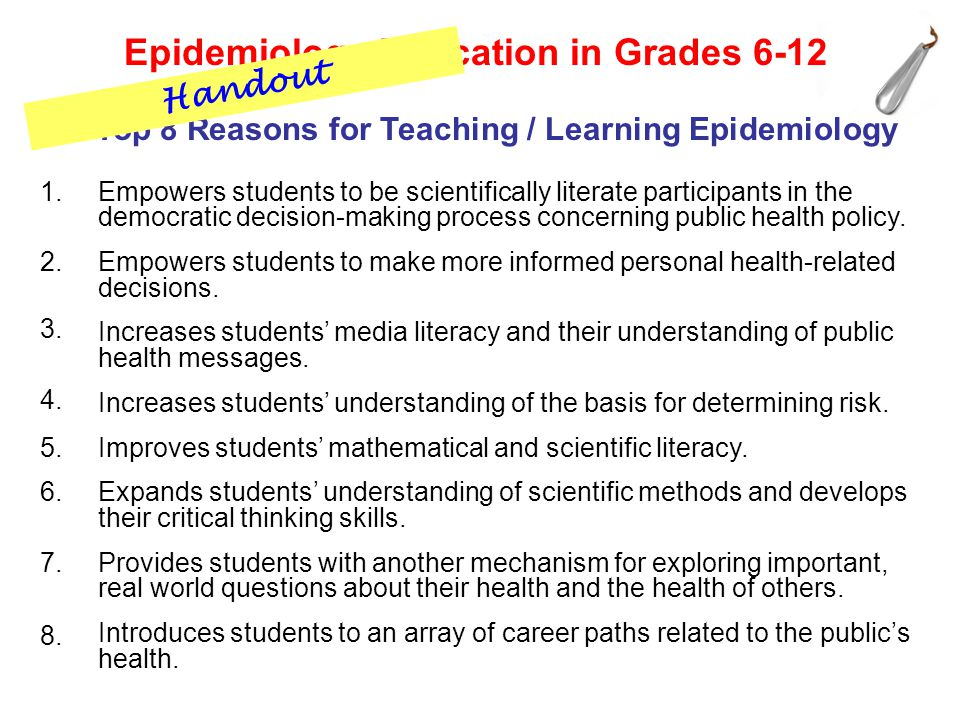 1. 2. 3. 4. 5. 6. 7. 8.. Empowers students to be scientifically literate participants in the democratic decision-making process concerning public heal