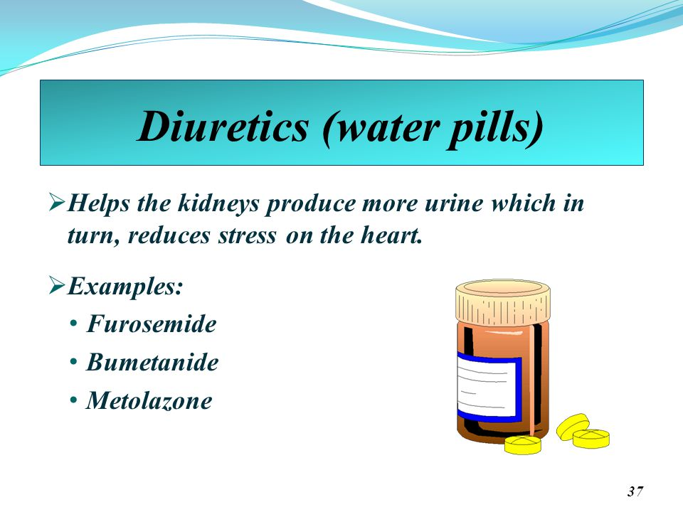 Diuretics (water pills)  Helps the kidneys produce more urine which in turn, reduces stress on the heart.