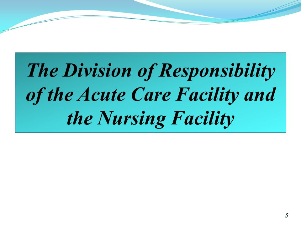 The Division of Responsibility of the Acute Care Facility and the Nursing Facility 5