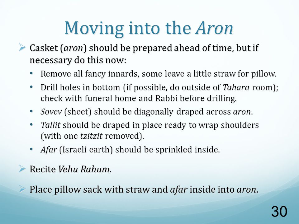Moving into the Aron  Casket (aron) should be prepared ahead of time, but if necessary do this now: Remove all fancy innards, some leave a little straw for pillow.