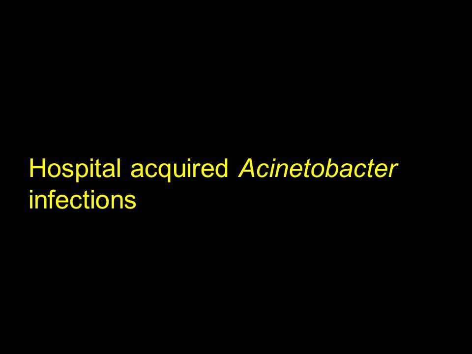 Acinetobacter Susceptibility, US, 2002-2003 % susceptible TSN Database.