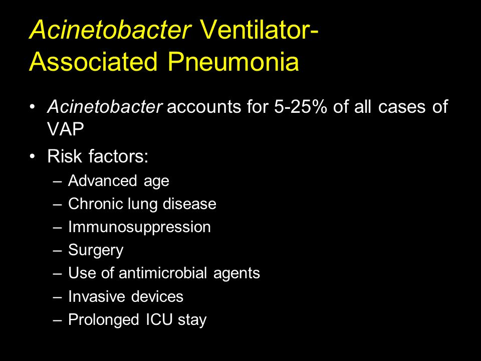 Acinetobacter Bloodstream Infection Most common source is respiratory tract infection Predisposing factors: –Malignancy –Trauma –Burns –Surgical wound infections –Neonates Low birth weight Need for mechanical ventilation