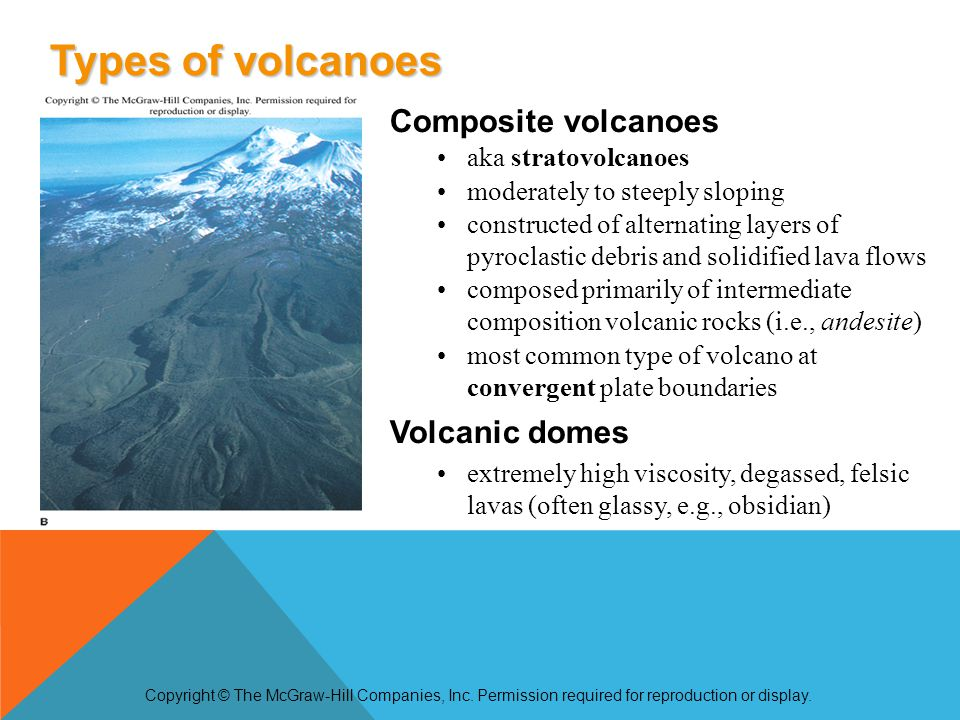 Composite volcanoes aka stratovolcanoes moderately to steeply sloping constructed of alternating layers of pyroclastic debris and solidified lava flow