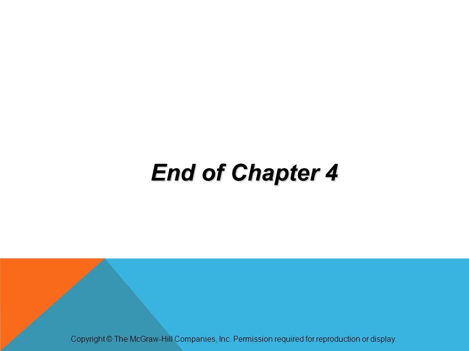 End of Chapter 4 Copyright © The McGraw-Hill Companies, Inc. Permission required for reproduction or display.