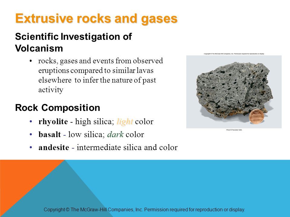 Scientific Investigation of Volcanism rocks, gases and events from observed eruptions compared to similar lavas elsewhere to infer the nature of past activity Rock Composition lightrhyolite - high silica; light color darkbasalt - low silica; dark color andesite - intermediate silica and color Copyright © The McGraw-Hill Companies, Inc.