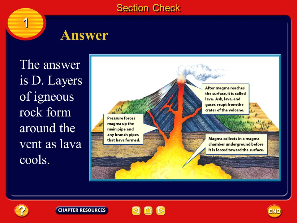 Section Check 1 1 Question 1 The opening in a volcano from which lava flows is called the __________. A. plate B. shield C. tephra D. vent
