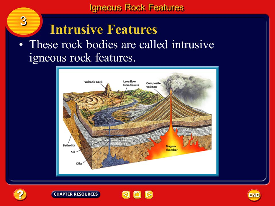 Intrusive Features You can observe volcanic eruptions because they occur at Earth's surface. Far more activity occurs underground. Igneous Rock Featur