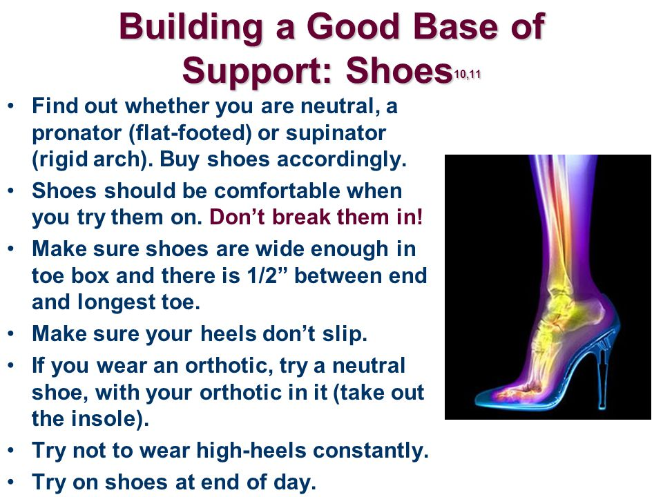Building a Good Base of Support: Shoes 10,11 Find out whether you are neutral, a pronator (flat-footed) or supinator (rigid arch). Buy shoes according