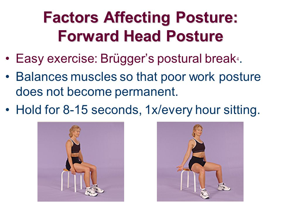 Easy exercise: Brügger's postural break 4. Balances muscles so that poor work posture does not become permanent. Hold for 8-15 seconds, 1x/every hour