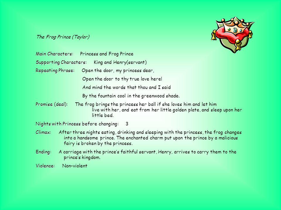 The Frog Prince (Tarcov) Main Characters: Main Characters: Princess and Frog Prince Supporting Characters: Supporting Characters: King Repeating Phras