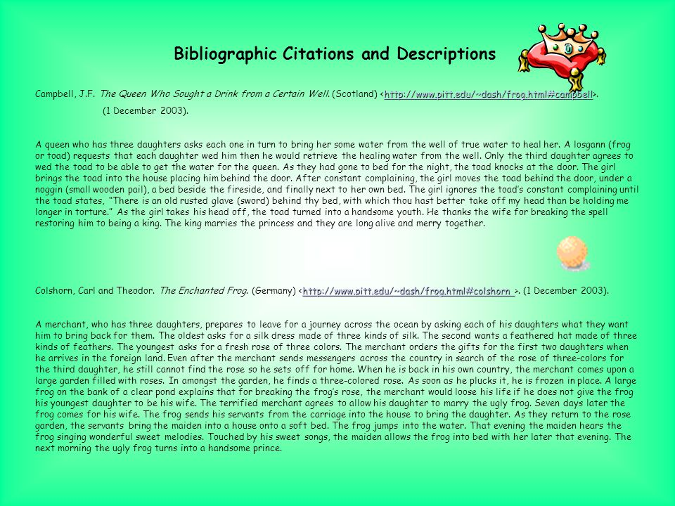 This PowerPoint presentation examines the various forms of The Frog Prince stories. This analysis For this research project, I used folktale websites