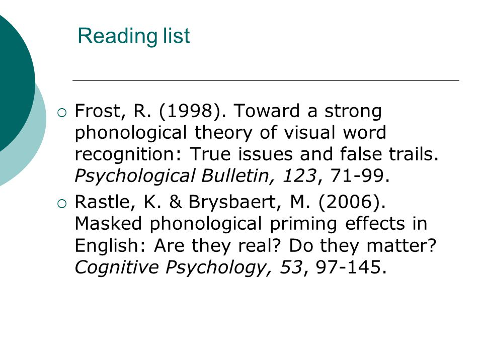 Reading list  Frost, R. (1998).
