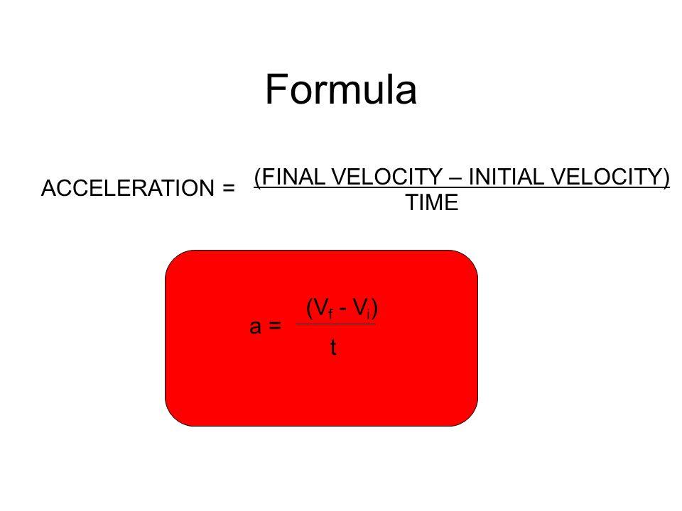 Formula ACCELERATION = (FINAL VELOCITY – INITIAL VELOCITY) TIME a = (V f - V i ) t
