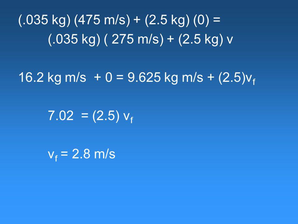 (.035 kg) (475 m/s) + (2.5 kg) (0) = (.035 kg) ( 275 m/s) + (2.5 kg) v 16.2 kg m/s + 0 = 9.625 kg m/s + (2.5)v f 7.02 = (2.5) v f v f = 2.8 m/s