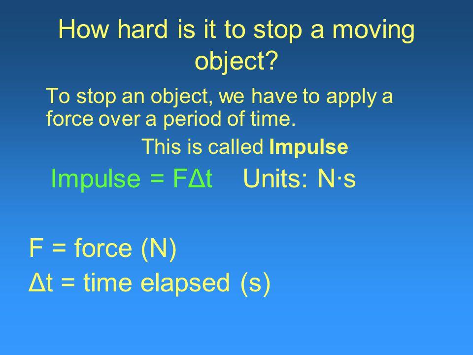 Initial momentum (p i ) = final momentum(p f ) m 1 v 1i + m 2 v 2i = m 1 v 1 f + m 2 v 2 f m 1 v 1 i + m 2 v 2 i = 2mv f cancel out mass… v 1 + v 2 = 2v f v f = v 1 +v 2 / 2 = 2.2 m/s + 0.0 m/s 2 v f = 1.1m/s
