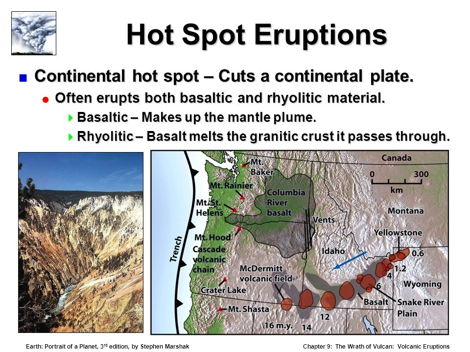 Chapter 9: The Wrath of Vulcan: Volcanic Eruptions Earth: Portrait of a Planet, 3 rd edition, by Stephen Marshak Hot Spot Eruptions  Continental hot spot – Cuts a continental plate.