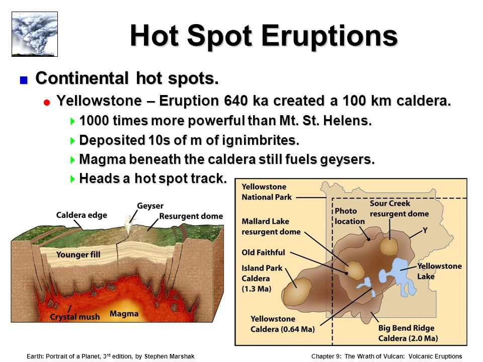 Chapter 9: The Wrath of Vulcan: Volcanic Eruptions Earth: Portrait of a Planet, 3 rd edition, by Stephen Marshak Hot Spot Eruptions  Continental hot spots.