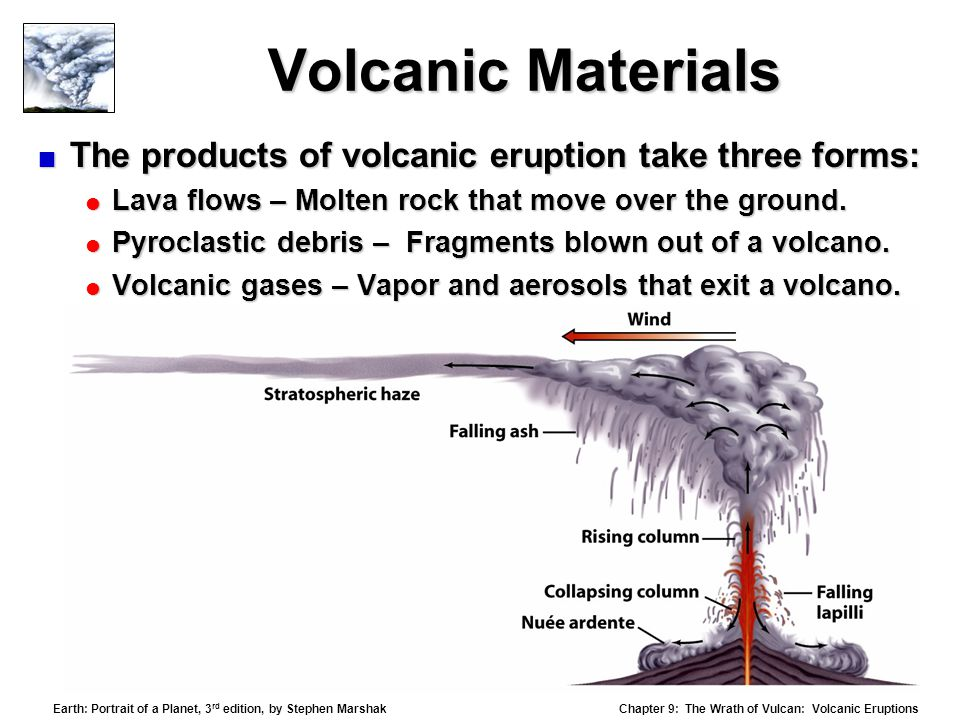 Chapter 9: The Wrath of Vulcan: Volcanic Eruptions Earth: Portrait of a Planet, 3 rd edition, by Stephen Marshak Volcanic Materials  The products of volcanic eruption take three forms:  Lava flows – Molten rock that move over the ground.