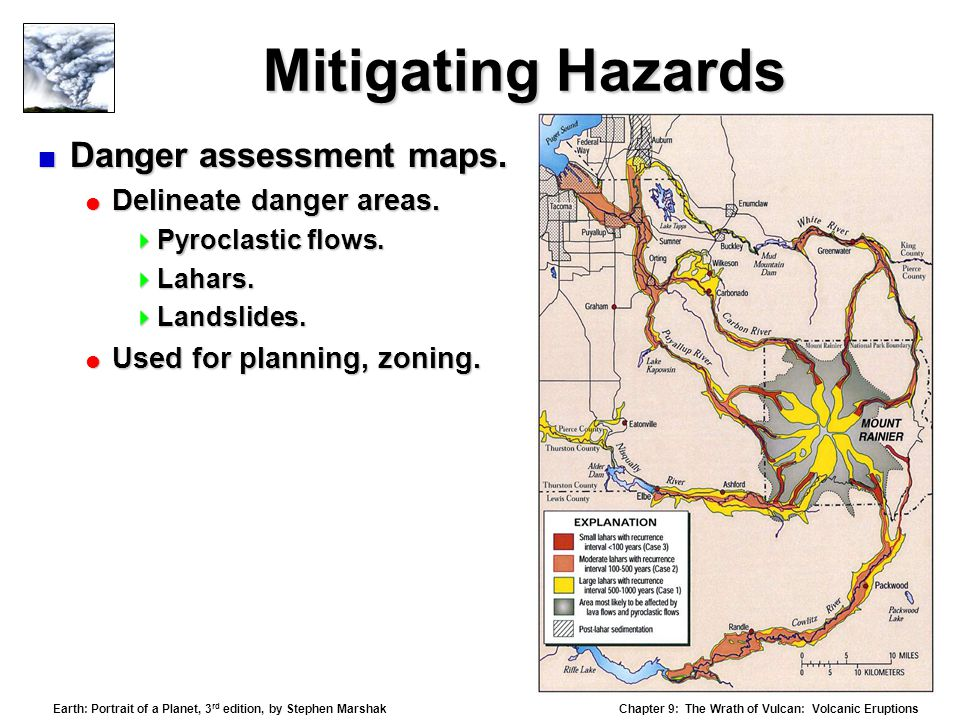 Chapter 9: The Wrath of Vulcan: Volcanic Eruptions Earth: Portrait of a Planet, 3 rd edition, by Stephen Marshak Mitigating Hazards  Danger assessment maps.
