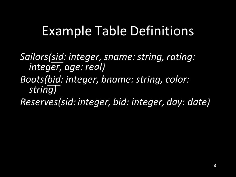 8 Example Table Definitions Sailors(sid: integer, sname: string, rating: integer, age: real) Boats(bid: integer, bname: string, color: string) Reserves(sid: integer, bid: integer, day: date)