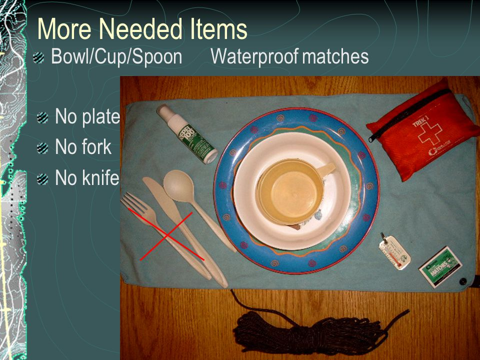 More Needed Items Bowl/Cup/Spoon Waterproof matches No plate No fork No knife