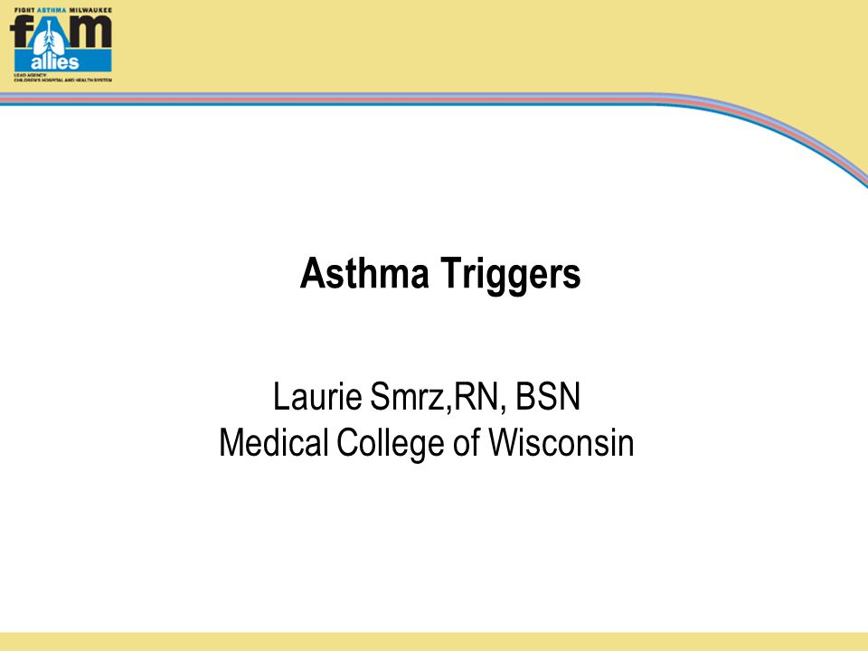 Asthma Triggers Laurie Smrz,RN, BSN Medical College of Wisconsin