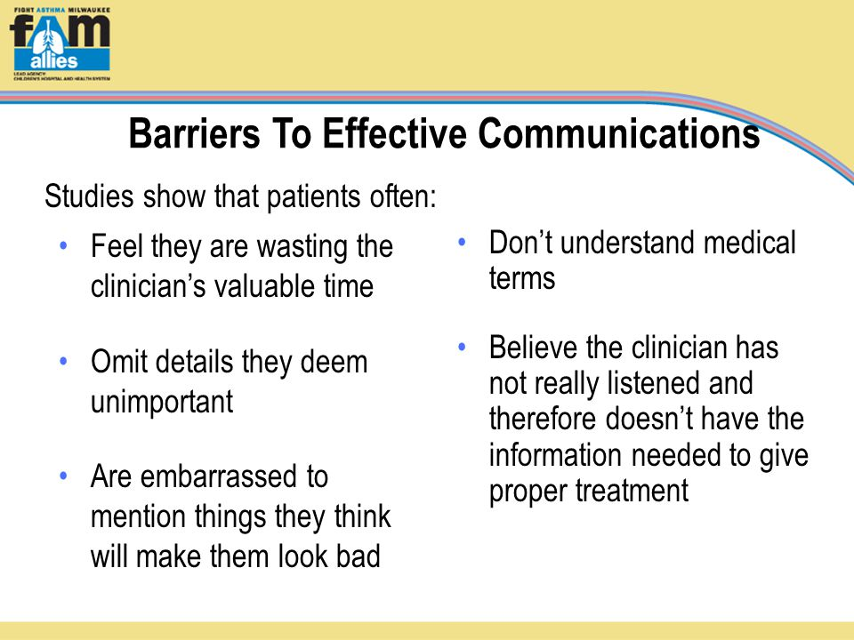 Barriers To Effective Communications Feel they are wasting the clinician's valuable time Omit details they deem unimportant Are embarrassed to mention things they think will make them look bad Don't understand medical terms Believe the clinician has not really listened and therefore doesn't have the information needed to give proper treatment Studies show that patients often: