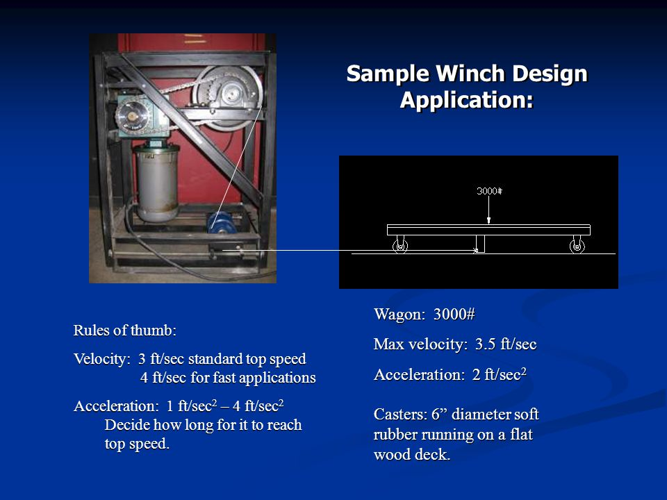 Friction Drive Winch Motorized or manual operation Does not use a Grooved Drum Uses a keyed four groove Multi-sheave above and five idler sheaves below Cable is either an endless loop or both ends terminate at wagon