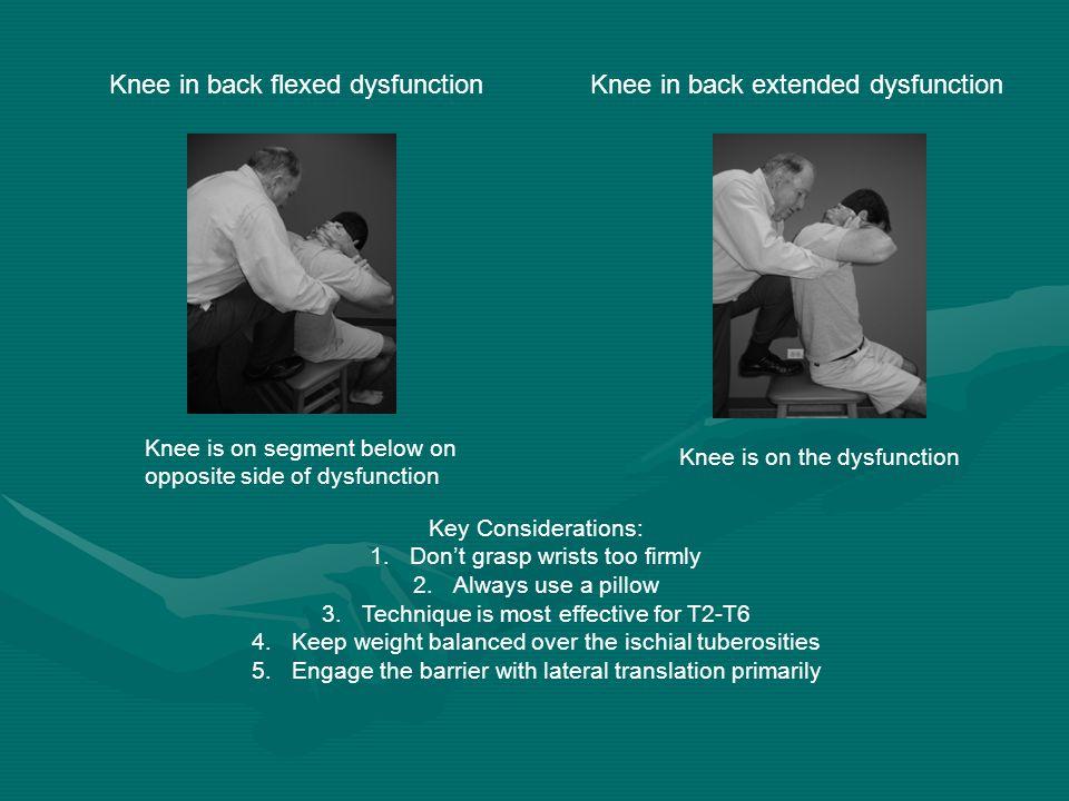 Knee in back flexed dysfunctionKnee in back extended dysfunction Knee is on segment below on opposite side of dysfunction Knee is on the dysfunction K
