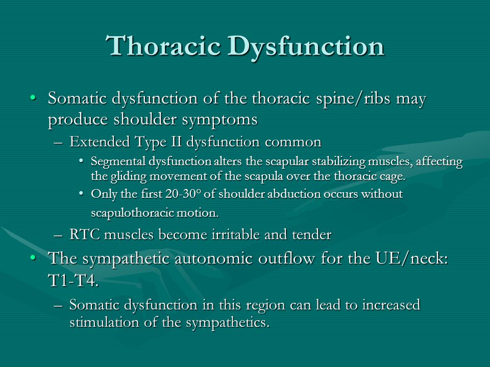 Thoracic Dysfunction Somatic dysfunction of the thoracic spine/ribs may produce shoulder symptomsSomatic dysfunction of the thoracic spine/ribs may pr