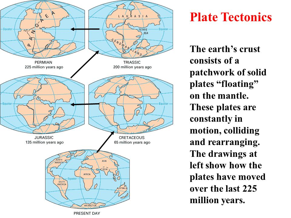 Plate Tectonics The earth's crust consists of a patchwork of solid plates floating on the mantle.