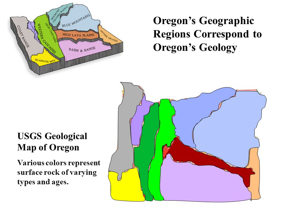 Oregon's Geographic Regions Correspond to Oregon's Geology USGS Geological Map of Oregon Various colors represent surface rock of varying types and ages.