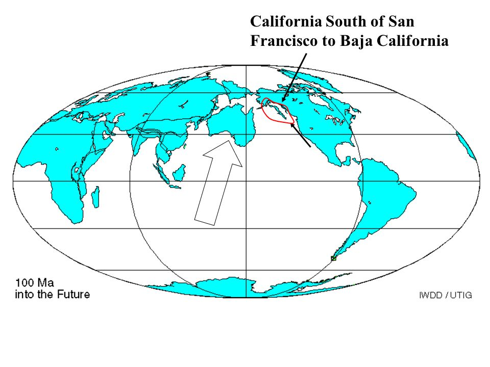 California South of San Francisco to Baja California