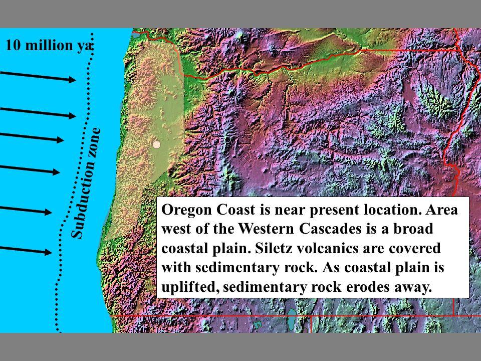 10 million ya Subduction zone Oregon Coast is near present location. Area west of the Western Cascades is a broad coastal plain. Siletz volcanics are