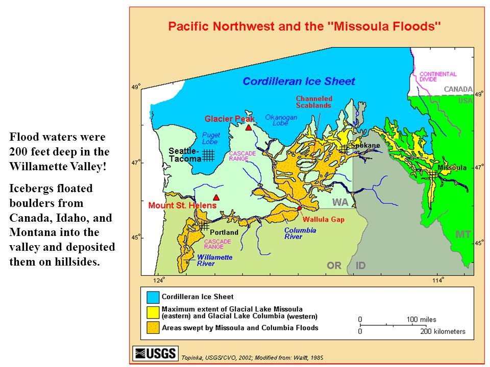 Flood waters were 200 feet deep in the Willamette Valley! Icebergs floated boulders from Canada, Idaho, and Montana into the valley and deposited them