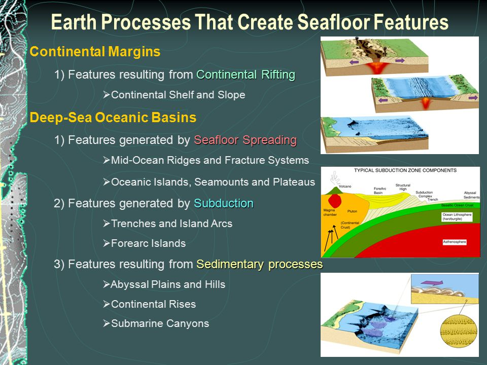 Earth's Deep-Sea Basin Features  Mid-Oceanic Ridge and Transform Fracture Systems  Abyssal Hills and Plains  Seamounts and Guyots  Oceanic Islands and Plateaus  Trenches and Island Arcs Profile: North Atlantic Ocean Basin