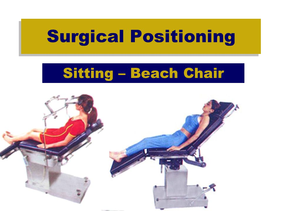 Surgical Positioning Sitting Complications –Ocular compression –Pneumocephalus –Edema of face, head, and neck due to prolonged neck flexion resulting in venous and lymphatic obstruction.