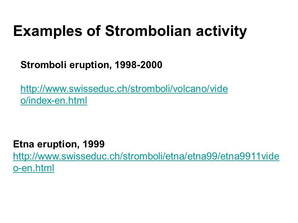Stromboli eruption, 1998-2000 http://www.swisseduc.ch/stromboli/volcano/vide o/index-en.html Etna eruption, 1999 http://www.swisseduc.ch/stromboli/etna/etna99/etna9911vide o-en.html Examples of Strombolian activity