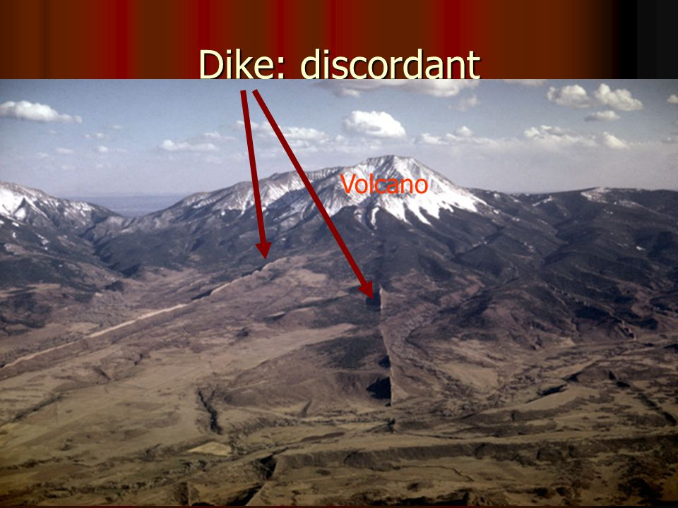 1. Dikes: 1-2 m thick (but some cm to 100s of m thick
