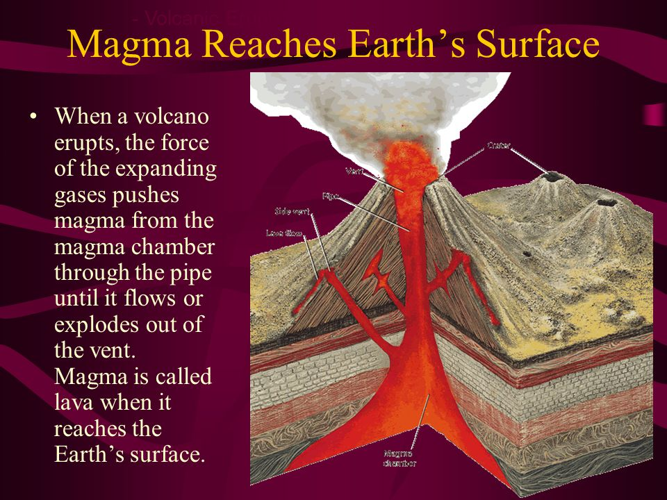 Magma Reaches Earth's Surface When a volcano erupts, the force of the expanding gases pushes magma from the magma chamber through the pipe until it flows or explodes out of the vent.