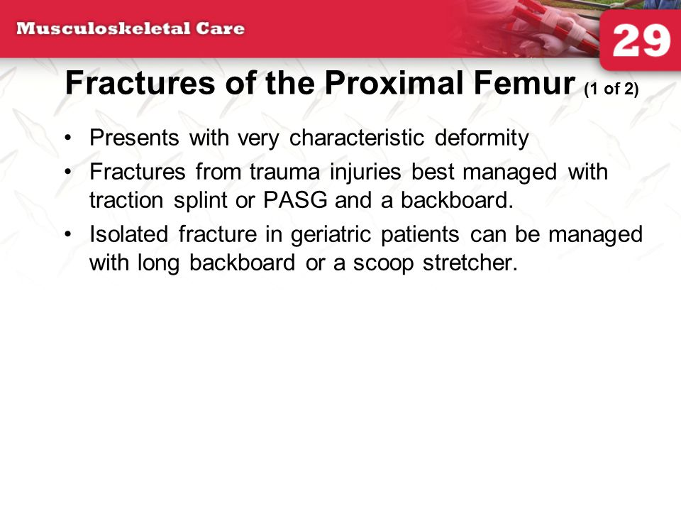Fractures of the Proximal Femur (1 of 2) Presents with very characteristic deformity Fractures from trauma injuries best managed with traction splint