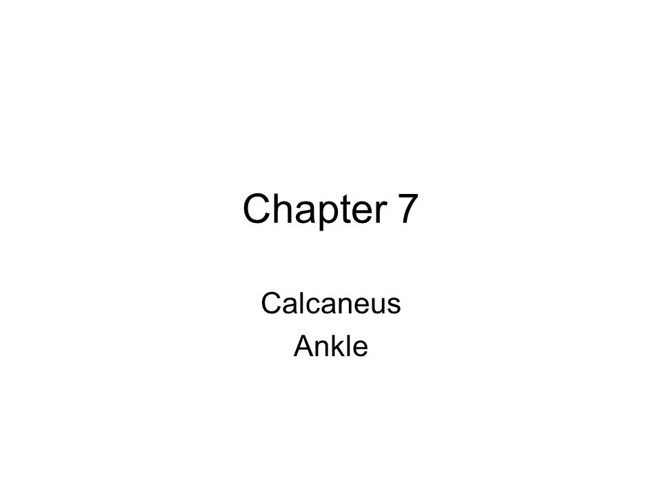 Chapter 7 Calcaneus Ankle