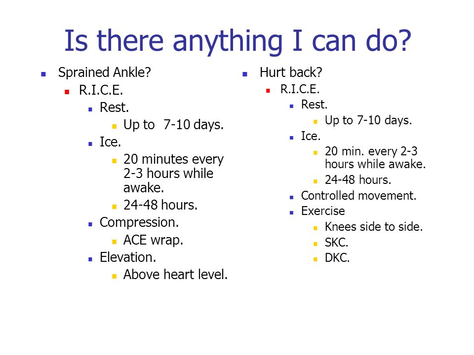 Is there anything I can do? Sprained Ankle? R.I.C.E. Rest. Up to 7-10 days. Ice. 20 minutes every 2-3 hours while awake. 24-48 hours. Compression. ACE