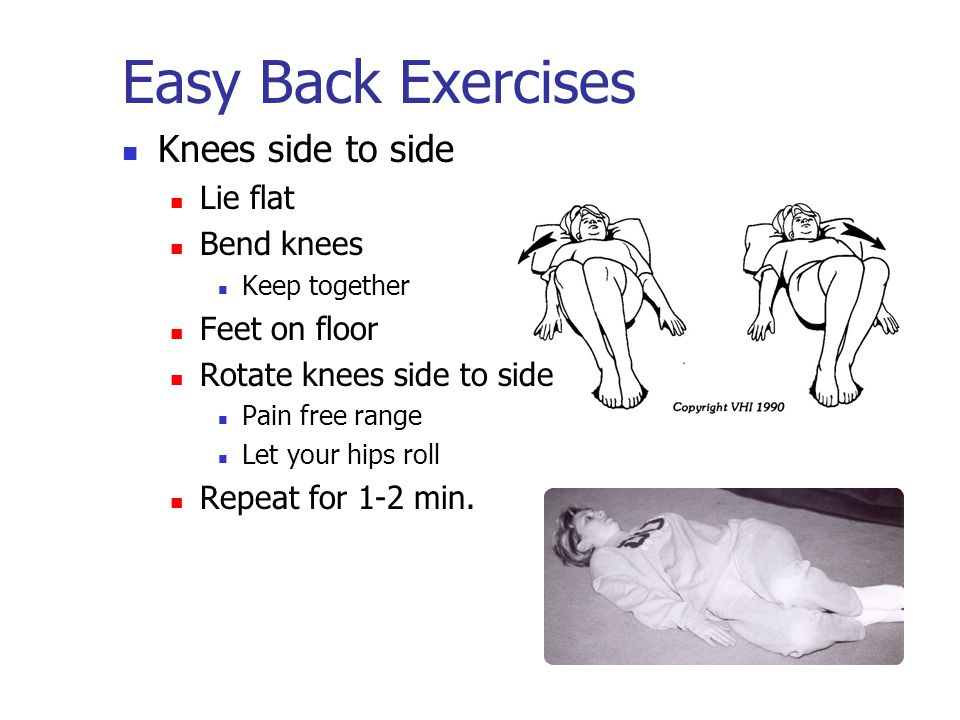 Easy Back Exercises Knees side to side Lie flat Bend knees Keep together Feet on floor Rotate knees side to side Pain free range Let your hips roll Repeat for 1-2 min.