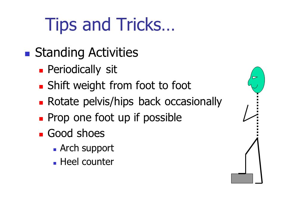 Tips and Tricks… Standing Activities Periodically sit Shift weight from foot to foot Rotate pelvis/hips back occasionally Prop one foot up if possible Good shoes Arch support Heel counter