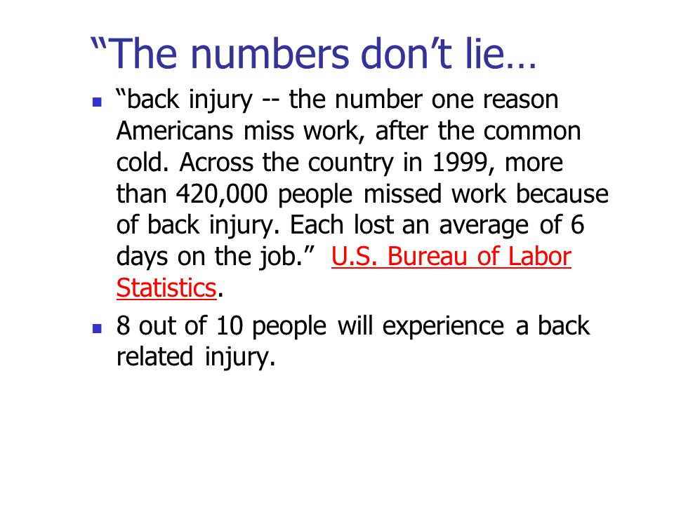 The numbers don't lie… back injury -- the number one reason Americans miss work, after the common cold.