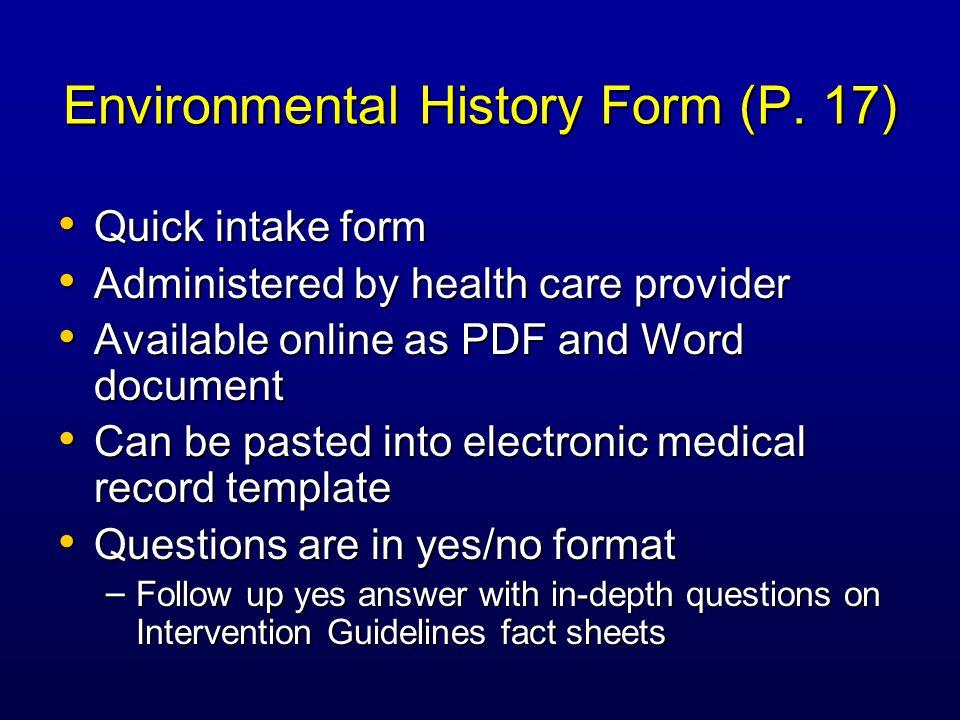 Environmental History Form (P.