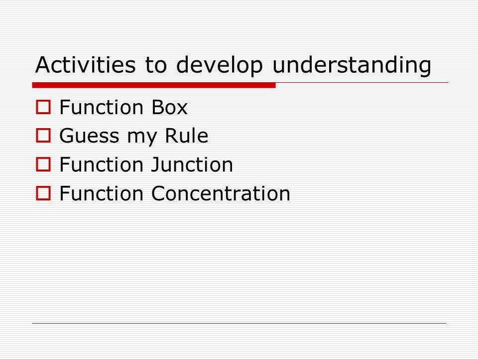 Activities to develop understanding  Function Box  Guess my Rule  Function Junction  Function Concentration