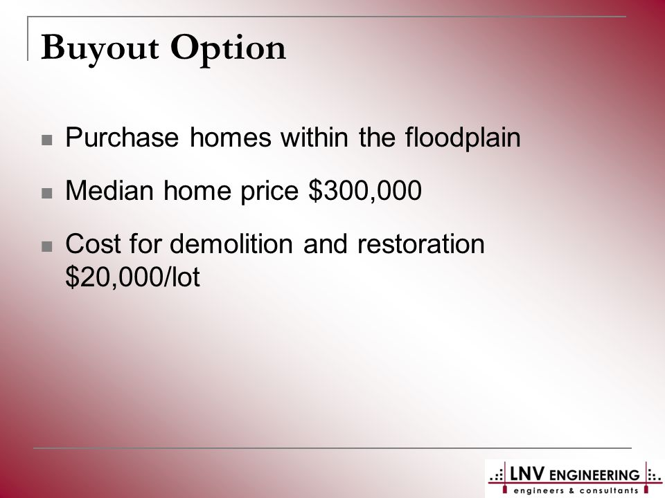 Buyout Option Purchase homes within the floodplain Median home price $300,000 Cost for demolition and restoration $20,000/lot
