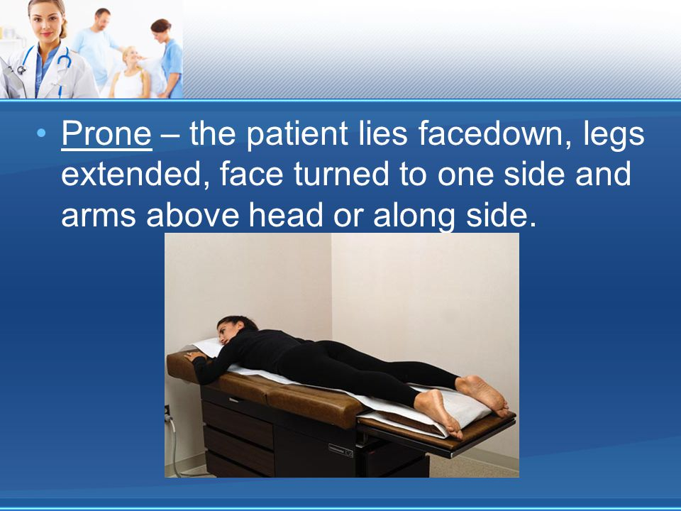 Prone – the patient lies facedown, legs extended, face turned to one side and arms above head or along side.